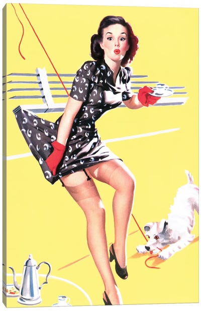 All Tied Up Vintage Pin-Up Canvas Art Print