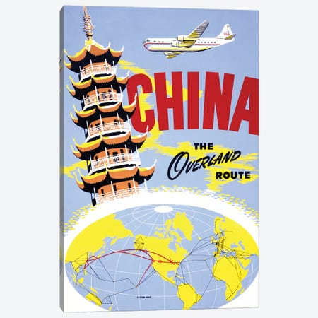 China the Overland Route Vintage Travel Poster Canvas Print #PDX42} by Piddix Canvas Art