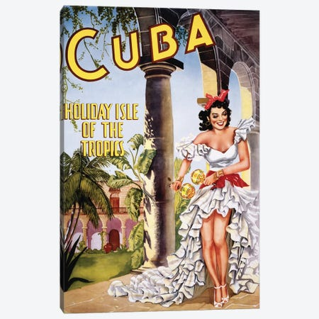 Cuban Vintage Travel Poster Canvas Print #PDX45} by Piddix Canvas Print