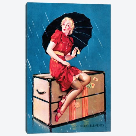 Disturbing Elements Retro Pin-Up Girl in Rain with Umbrella by Gil Elvgren Canvas Print #PDX46} by Piddix Canvas Print