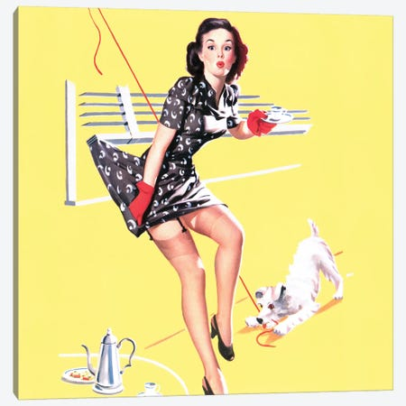 All Tied Up Vintage Pin-Up Square Canvas Print #PDX4} by Piddix Canvas Wall Art