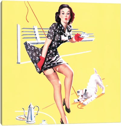 All Tied Up Vintage Pin-Up Square Canvas Art Print