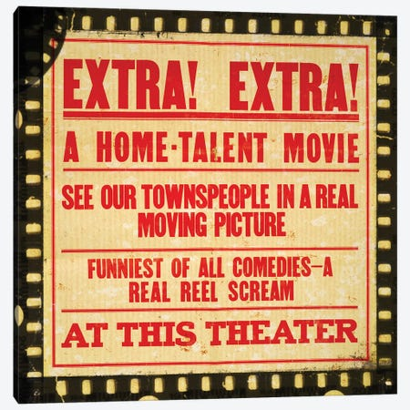 Extra! Extra! Movie Night Canvas Print #PDX50} by Piddix Canvas Art Print