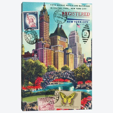 Fifth Avenue in Central Park, New York City Vintage Postcard Collage Canvas Print #PDX52} by Piddix Art Print