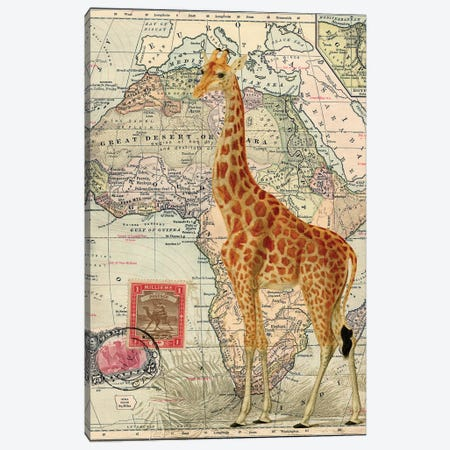 Giraffe on Vintage Map of Africa Canvas Print #PDX59} by Piddix Art Print