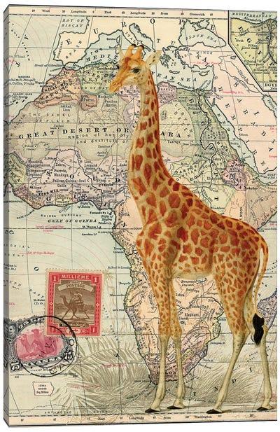 Giraffe on Vintage Map of Africa Canvas Art Print