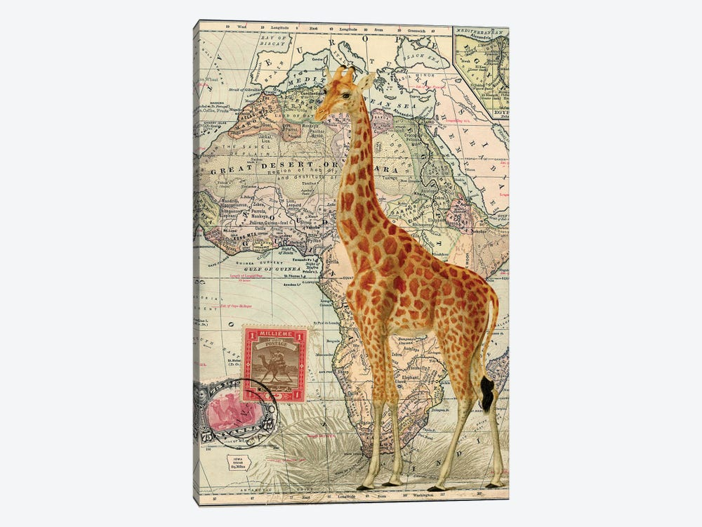 Giraffe on Vintage Map of Africa by Piddix 1-piece Canvas Art