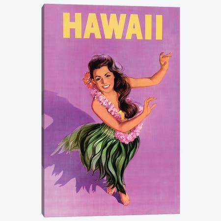 Hawaiian Hula Girl Vintage Travel Poster Canvas Print #PDX67} by Piddix Art Print