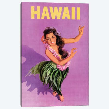 Hawaiian Hula Girl Vintage Travel Poster Canvas Print #PDX67} by Piddix Art Print