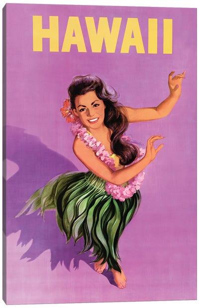 Hawaiian Hula Girl Vintage Travel Poster Canvas Art Print