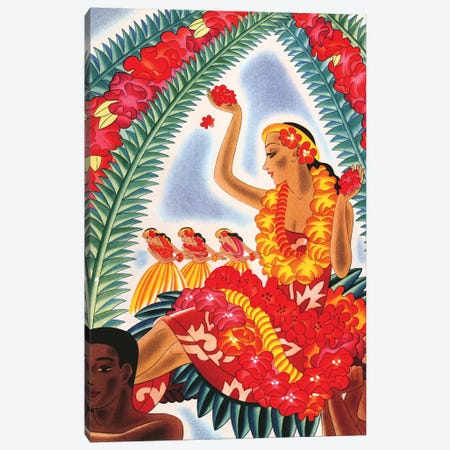Hawaiian Hula, c1940s Canvas Print #PDX68} by Piddix Canvas Wall Art