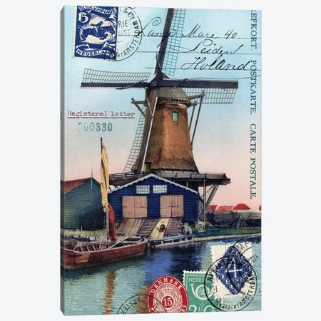 Holland Windmill Vintage Postcard Collage Canvas Print #PDX73} by Piddix Canvas Print