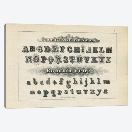 Alphabet Capitale Ornee, Plate 7 Canvas Print #PDX7} by Piddix Canvas Wall Art