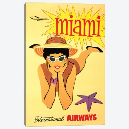 Miami Vintage Travel Poster, International Airways Canvas Print #PDX89} by Piddix Canvas Artwork