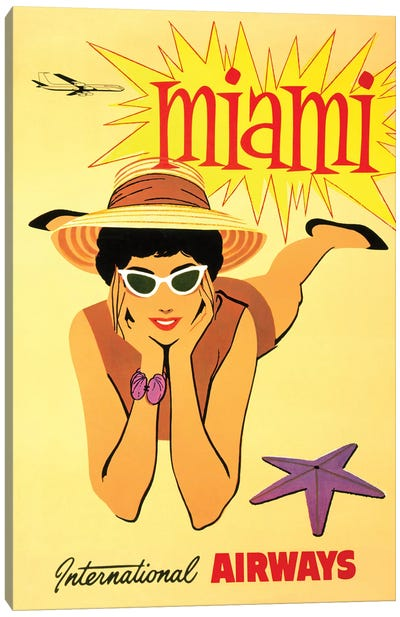 Miami Vintage Travel Poster, International Airways Canvas Art Print