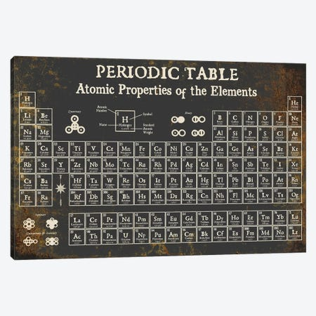Periodic Table of Elements, Dark Canvas Print #PDX96} by Piddix Canvas Wall Art