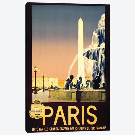 Place de la Concorde, Paris, France Travel Poster, c1930 Canvas Print #PDX98} by Piddix Canvas Art Print