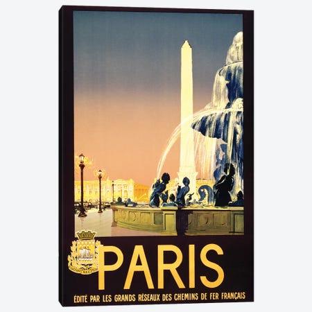 Place de la Concorde, Paris, France Travel Poster, c1930 Canvas Print #PDX98} by Piddix Canvas Art Print