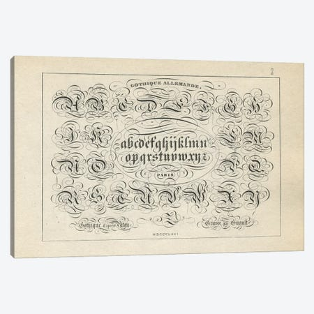 Alphabet Gothique Allemande, Plate 2 Canvas Print #PDX9} by Piddix Art Print