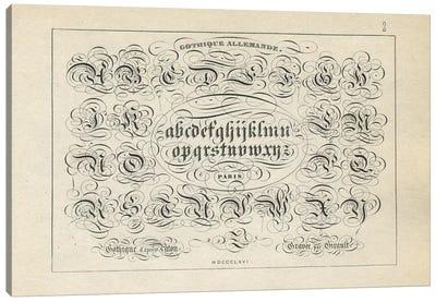 Alphabet Gothique Allemande, Plate 2 Canvas Art Print