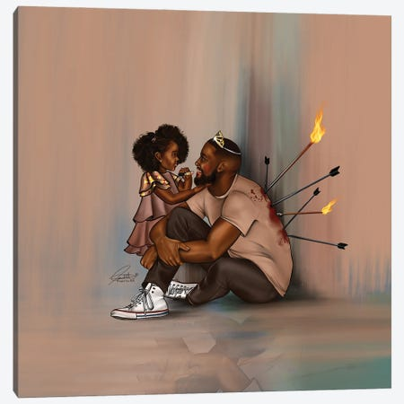 Black Fatherhood Canvas Print #PEA23} by Peniel Enchill Canvas Wall Art