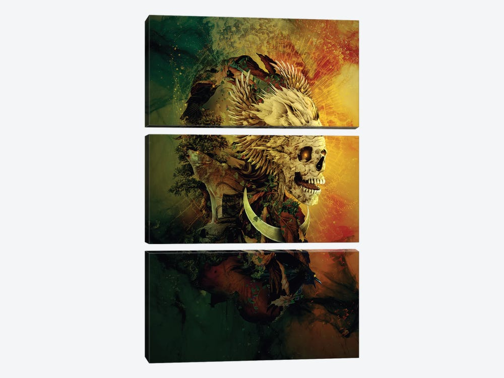 Skull Lord III by Riza Peker 3-piece Canvas Art Print