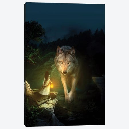 The Wolf Canvas Print #PEK106} by Riza Peker Art Print