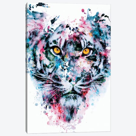 Tiger Blue Canvas Print #PEK107} by Riza Peker Canvas Print