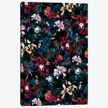 Floral Night Canvas Print #PEK113} by Riza Peker Art Print