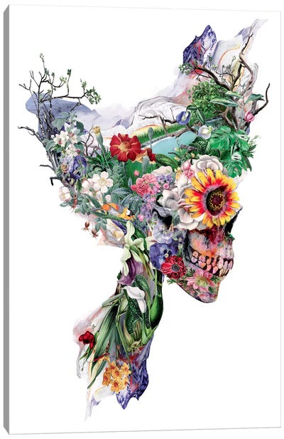Floral Skull Series: Don't Kill The Nature Canvas Print #PEK11