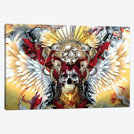 Bloody Skull Canvas Print #PEK143} by Riza Peker Canvas Wall Art