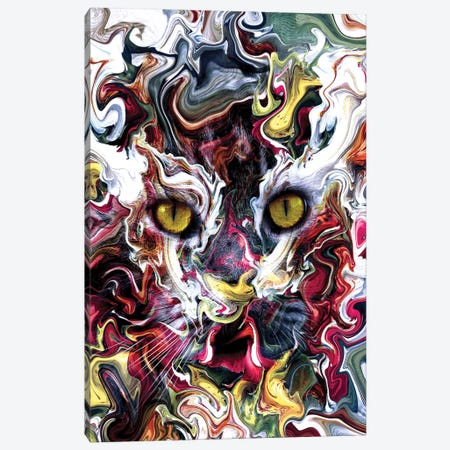 Cat Abstract Canvas Print #PEK149} by Riza Peker Canvas Art