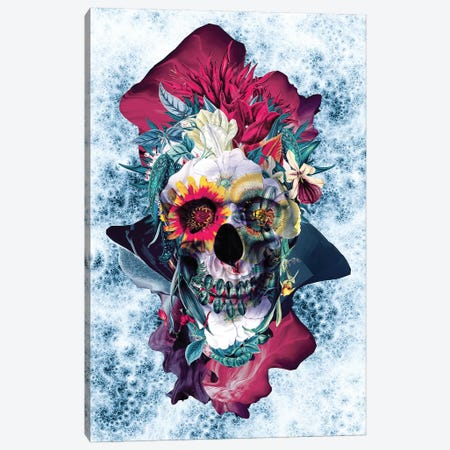 Floral Skull Blue Canvas Print #PEK152} by Riza Peker Canvas Print