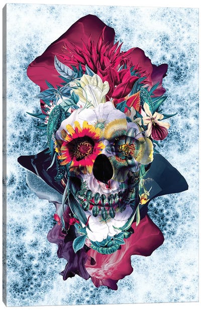 Floral Skull Blue Canvas Art Print