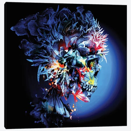 Skull Vivid Canvas Print #PEK167} by Riza Peker Art Print