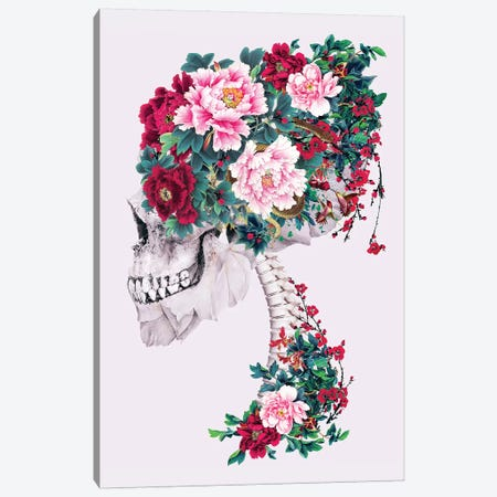Skull with Peonies Canvas Print #PEK168} by Riza Peker Canvas Art