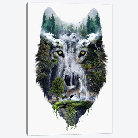 Wolf Canvas Print #PEK178} by Riza Peker Art Print