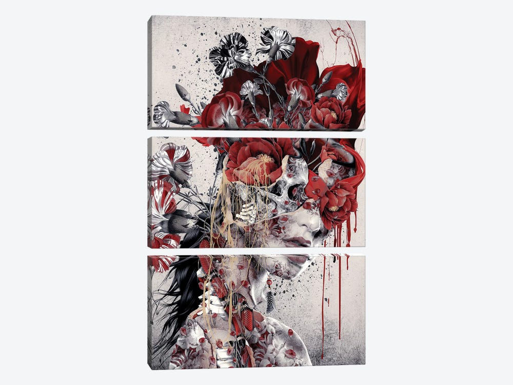 Queen Of Skull by Riza Peker 3-piece Canvas Art Print