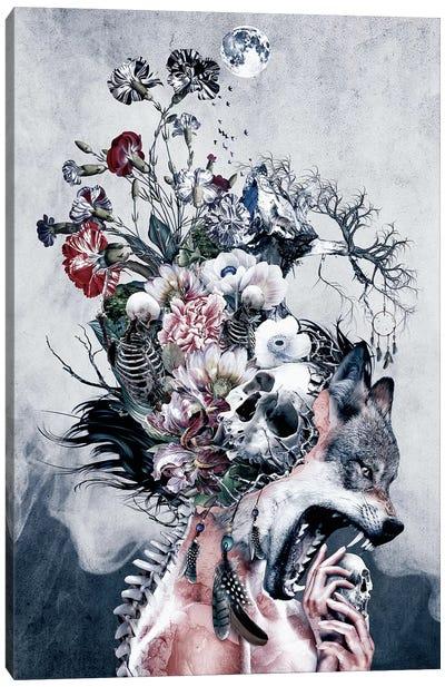 Wolf And Skulls Canvas Art Print