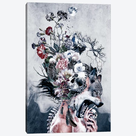 Wolf And Skulls Canvas Print #PEK188} by Riza Peker Canvas Wall Art