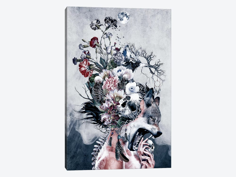 Wolf And Skulls by Riza Peker 1-piece Canvas Artwork