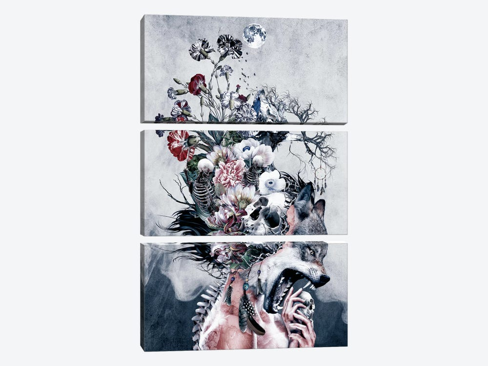 Wolf And Skulls by Riza Peker 3-piece Canvas Art