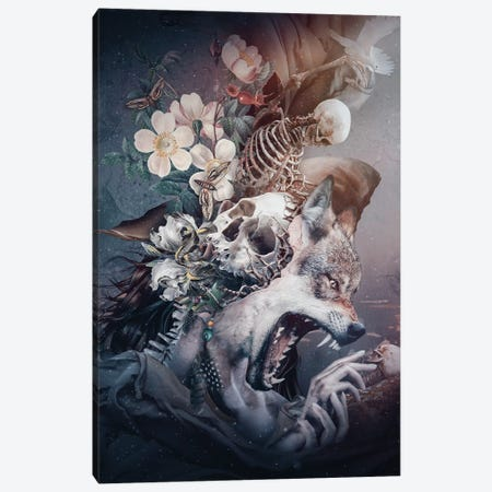 Wolf In Moonlight Canvas Print #PEK194} by Riza Peker Canvas Wall Art