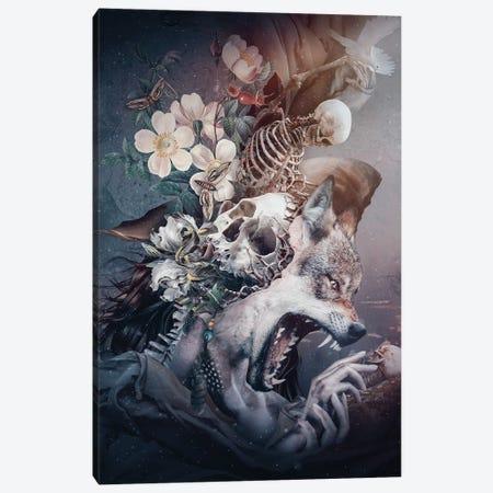 Wolf In Moonlight 3-Piece Canvas #PEK194} by Riza Peker Canvas Wall Art