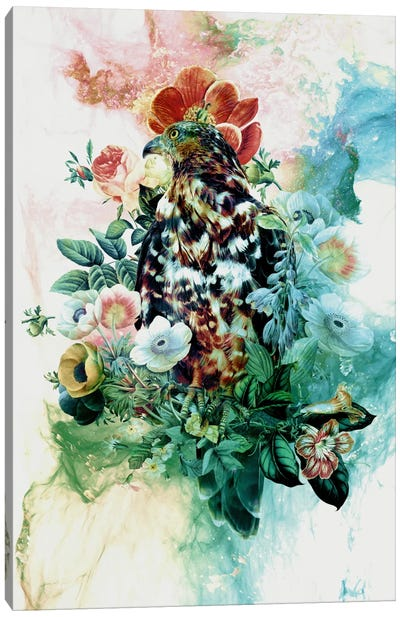 Bird In Flowers Canvas Print #PEK1
