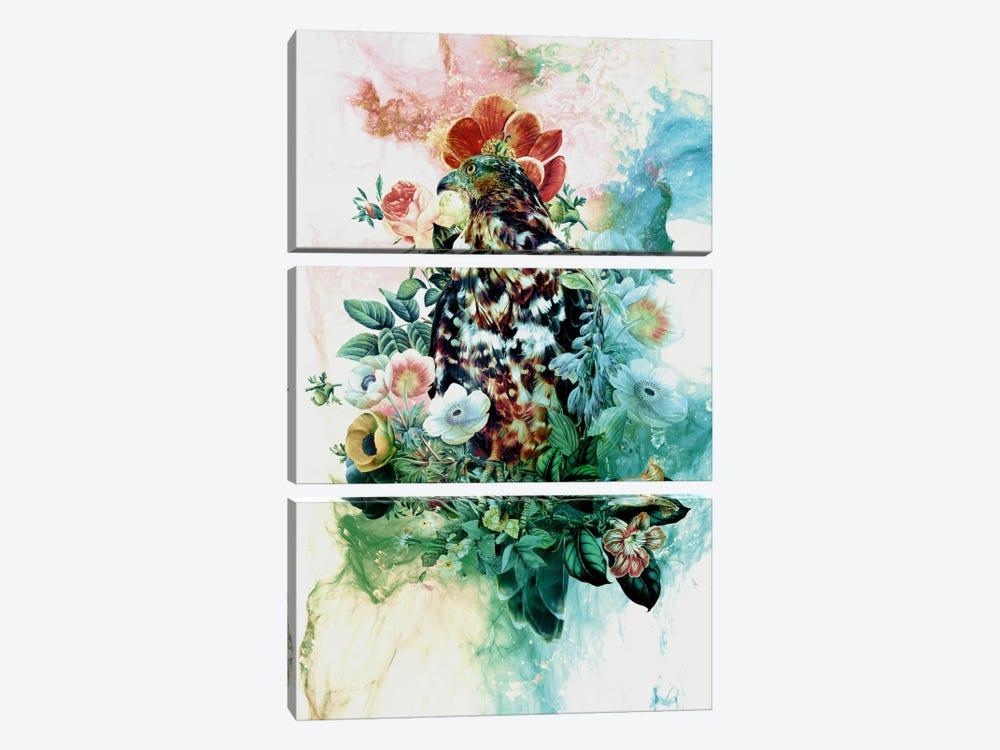 Bird In Flowers by Riza Peker 3-piece Canvas Art Print
