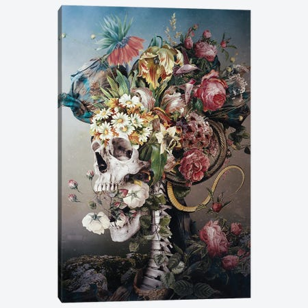 Flower Skull Canvas Print #PEK204} by Riza Peker Canvas Artwork