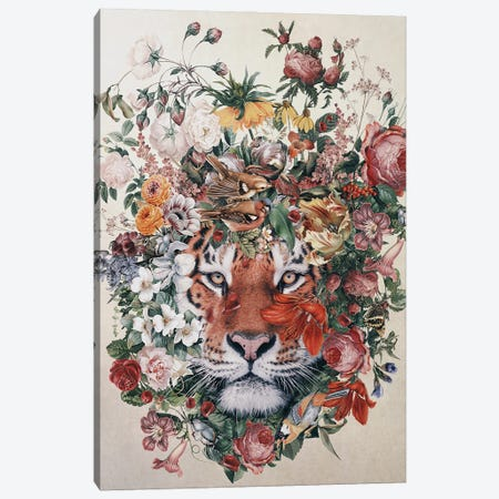 Flower Tiger Canvas Print #PEK205} by Riza Peker Canvas Art