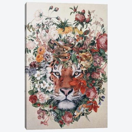 Flower Tiger Canvas Print #PEK205} by Riza Peker Canvas Art