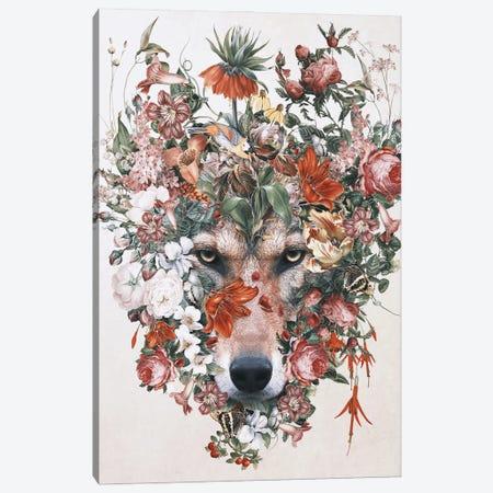 Flower Wolf Canvas Print #PEK206} by Riza Peker Canvas Wall Art